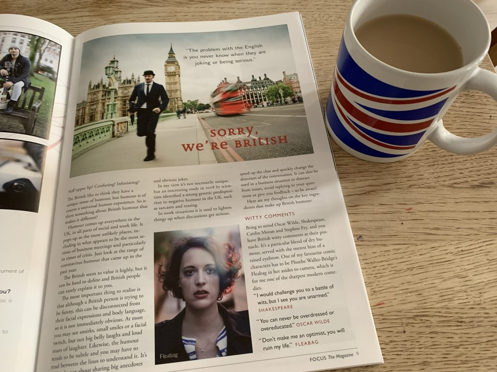 Victoria Rennoldson of Perfect Cuppa English writes about British humour for FOCUS magazine